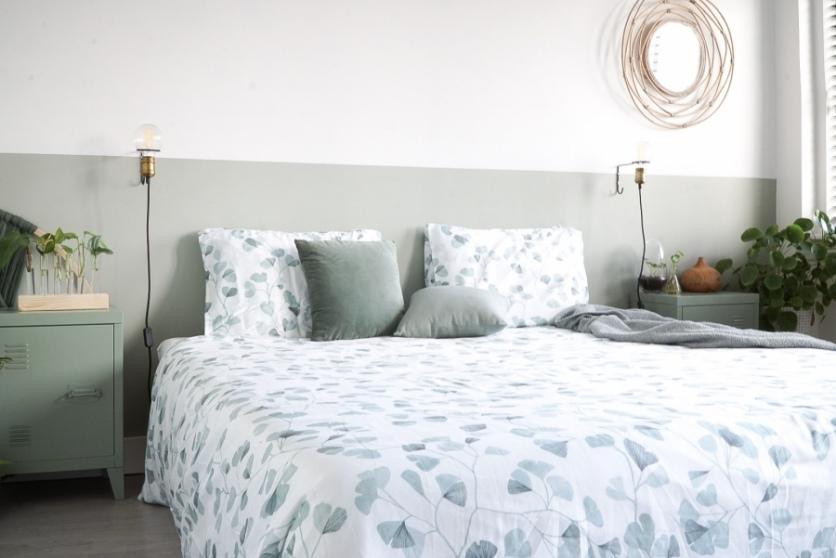 Het Biloba dekbedovertrek past perfect in onze slaapkamer!
