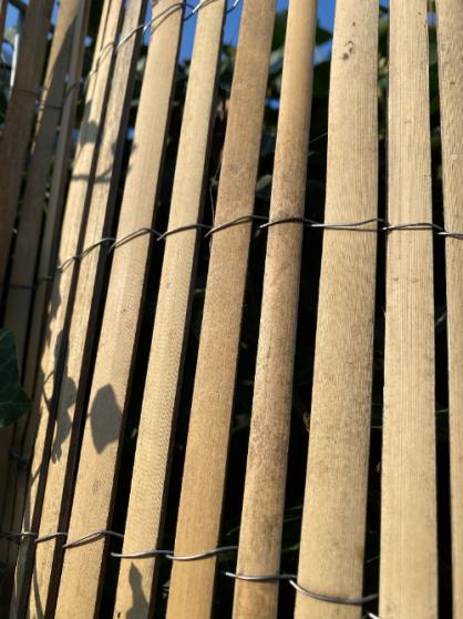 Bamboe split op rol is ideaal voor verschillende doeleinden in de tuin. Ik gebruikte het als dakbedekking en als schutting