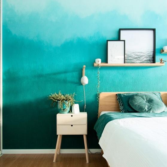 Margriet maakte een muur met kleurverloop in de slaapkamer